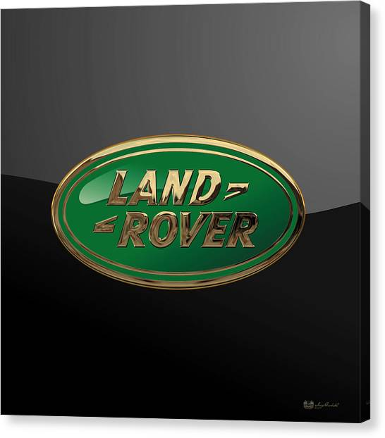 Land Rover - 3d Badge On Black Canvas Print