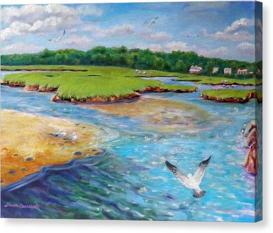 Landing At Jones River Salt Marsh Canvas Print