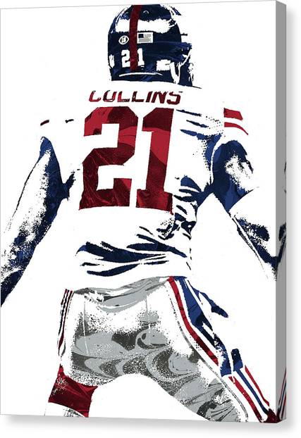 New York Giants Canvas Print - Landon Collins New York Giants Pixel Art 1 by Joe Hamilton