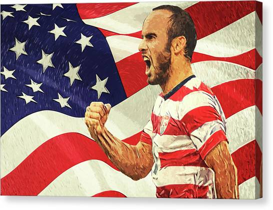 San Jose Earthquakes Canvas Print - Landon Donovan by Taylan Apukovska