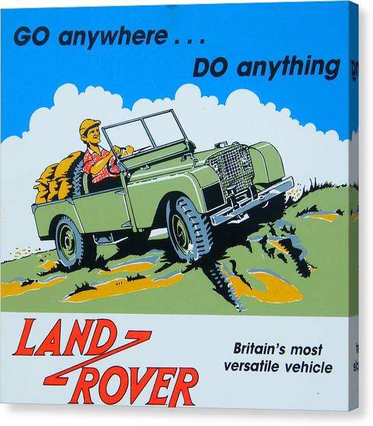 4x4 Canvas Print - Landrover Advert - Go Anywhere.....do Anything by Georgia Fowler