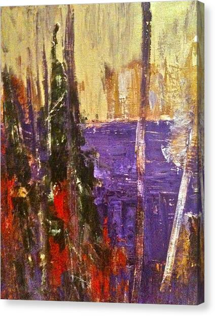 Landscape Abstract In Purple Canvas Print by Mary-Lynn Bastian