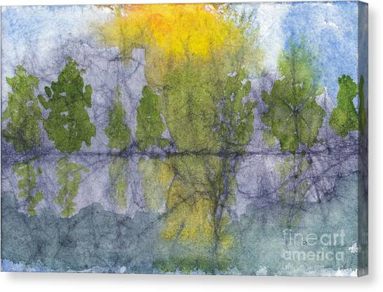 Landscape Reflection Abstraction On Masa Paper Canvas Print