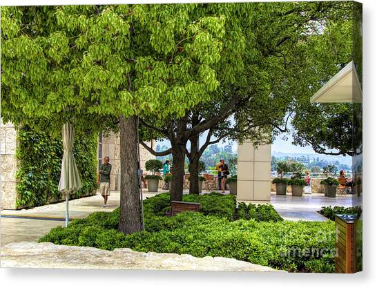 J Paul Getty Canvas Print - Landscape Getty Museum Center Court  by Chuck Kuhn