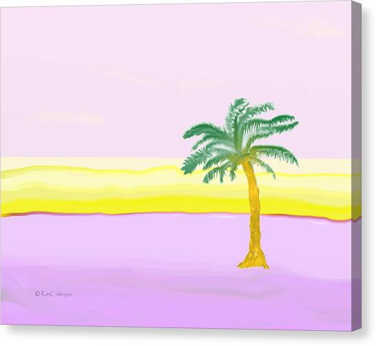 Landscape In Pink And Yellow Canvas Print