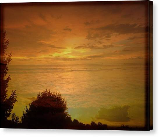 Border Wall Canvas Print - Landscape Over Sky And Ocean Sunrise by Debra Lynch