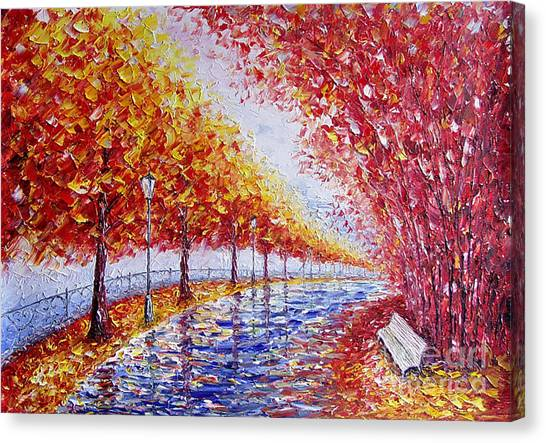 Landscape Painting Gold Alley Canvas Print by Valery Rybakow