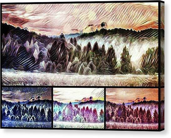 #landscape #sunset #psychedelic Canvas Print by Michal Dunaj
