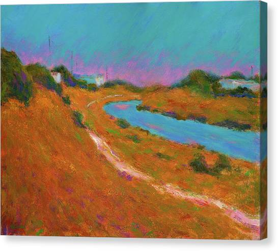 Canal Path, Early Autumn Canvas Print