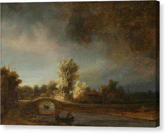 Rembrandt Canvas Print - Landscape With A Stone Bridge by Rembrandt
