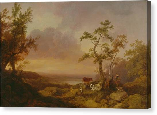 James Franco Canvas Print - Landscape With Cattle And Peasant by Treasury Classics Art