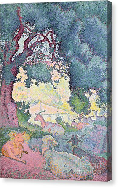 Pointillism Canvas Print - Landscape With Goats by Henri-Edmond Cross