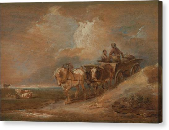James Franco Canvas Print - Landscape With Horse And Oxen Cart by Treasury Classics Art