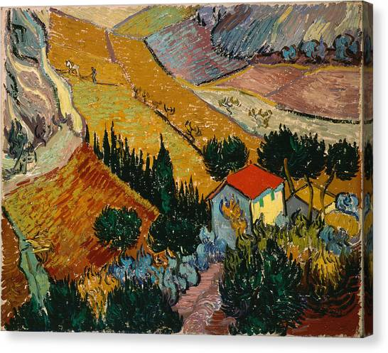 Canvas Print featuring the painting Landscape With House And Ploughman by Van Gogh