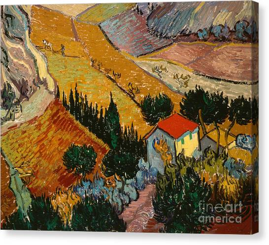 Post-impressionism Canvas Print - Landscape With House And Ploughman by Vincent Van Gogh
