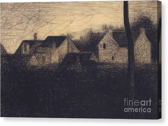 Divisionism Canvas Print - Landscape With Houses by Georges Pierre Seurat