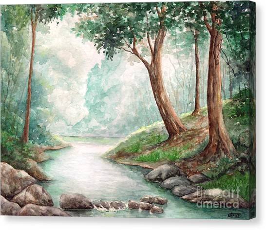 Landscape With River Canvas Print by Enaile D Siffert
