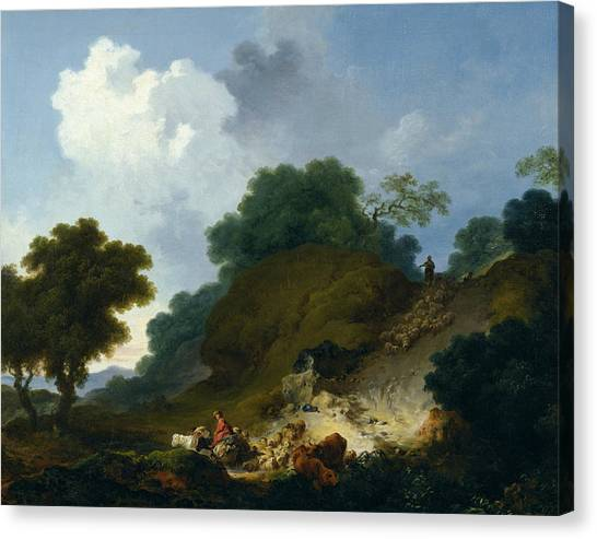 Rococo Art Canvas Print - Landscape With Shepherds And Flock Of Sheep by Jean-Honore Fragonard