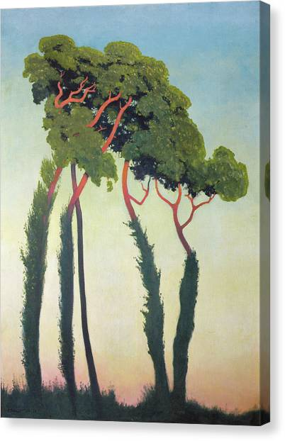 Post-impressionism Canvas Print - Landscape With Trees by Felix Edouard Vallotton