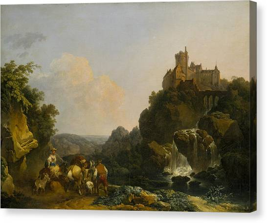 James Franco Canvas Print - Landscape With Waterfall, Castle And Peasants by Treasury Classics Art