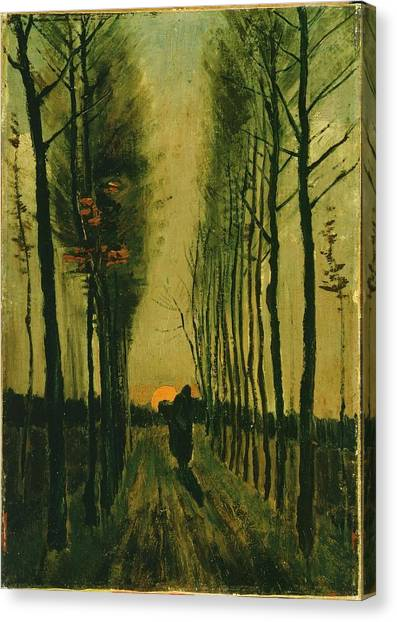 Canvas Print featuring the painting Lane Of Poplars At Sunset by Van Gogh