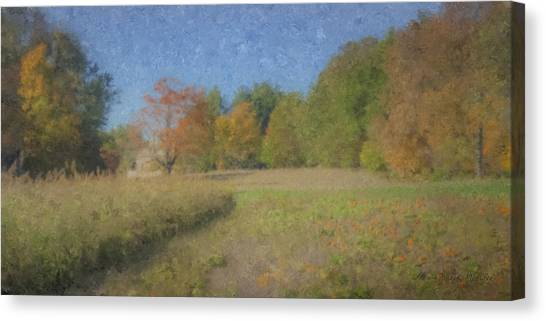 Langwater Farm With Pumpkins And Chateau Canvas Print