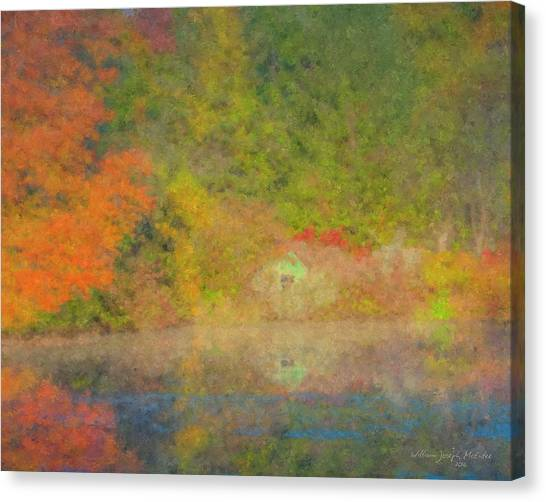 Langwater Pond Boathouse October 2015 Canvas Print