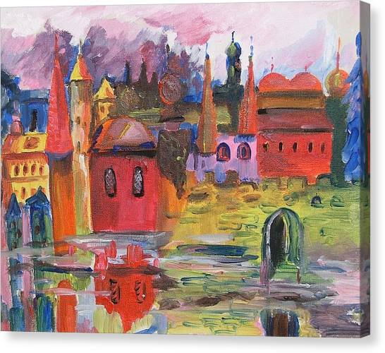 Lanscape With Red Houses Canvas Print