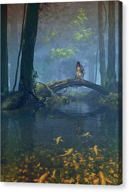 Goldfish Canvas Print - Lantern Bearer by Cynthia Decker