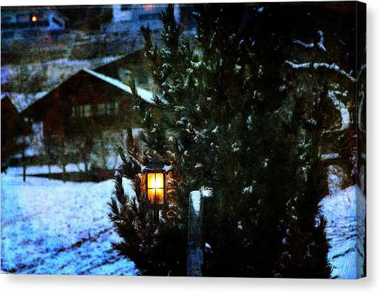Lantern In The Woods Canvas Print