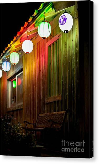Lanterns Light The Bench Canvas Print