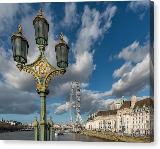 London Eye Canvas Print - Lanterns On Westminster by Adrian Evans