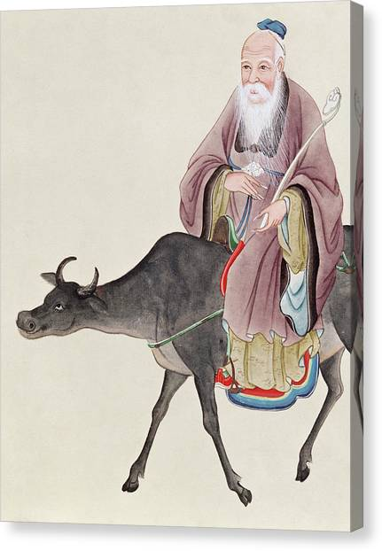 Bull Riding Canvas Print - Lao Tzu On His Buffalo by Chinese School