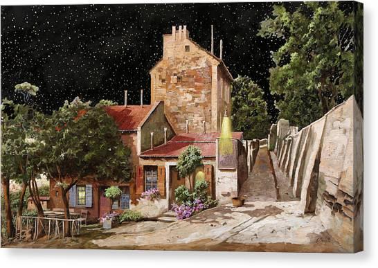 Paris Night Canvas Print - Lapin Agile All'una Di Notte by Guido Borelli