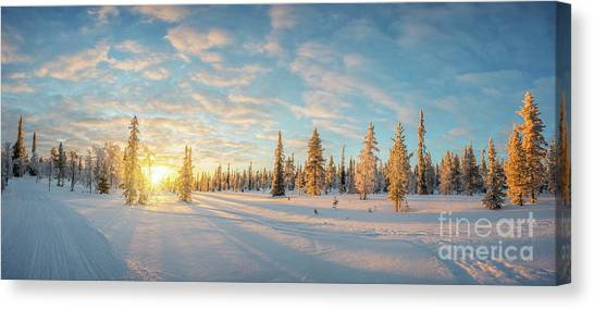 Winter Scenery Canvas Print - Lapland Panorama by Delphimages Photo Creations