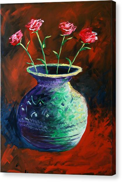 Large Abstract Roses In Vase Painting Canvas Print by Mark Webster