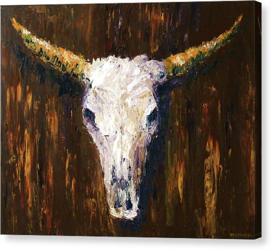 Large Cow Skull Acrylic Palette Knife Painting Canvas Print