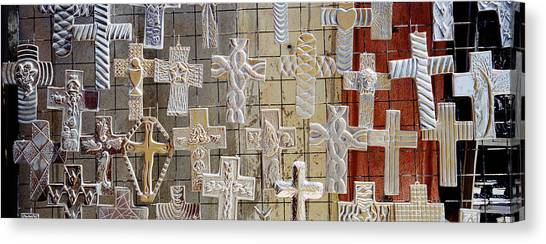 San Miguel De Allende Canvas Print - Large Group Of Crucifixes, San Miguel by Panoramic Images