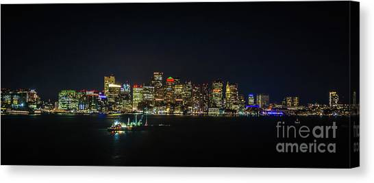Large Panoramic Of Downtown Boston At Night Canvas Print