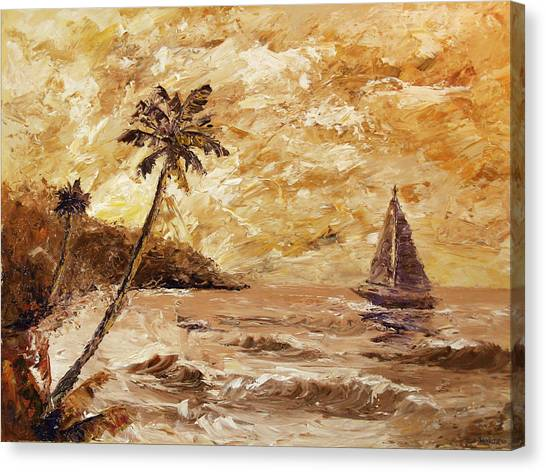 Large Sailboat On The Hawaiian Coast Oil Painting  Canvas Print by Mark Webster