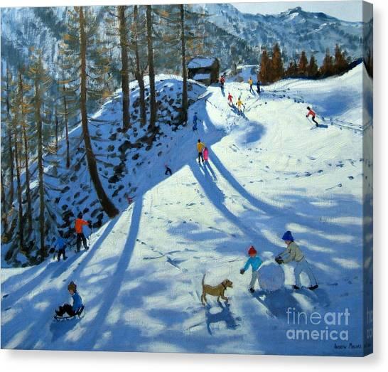 Winter Landscapes Canvas Print - Large Snowball Zermatt by Andrew Macara