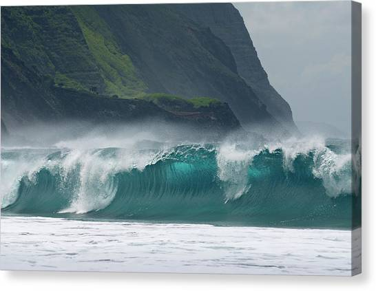 Kalaupapa Cliffs Canvas Print - Large Waves Breaking On Kalaupapa Leper Colony Beach On Molokai by Reimar Gaertner