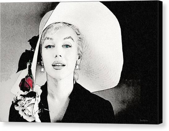 Large White Hat -marilyn Monroe  - Sketch Canvas Print