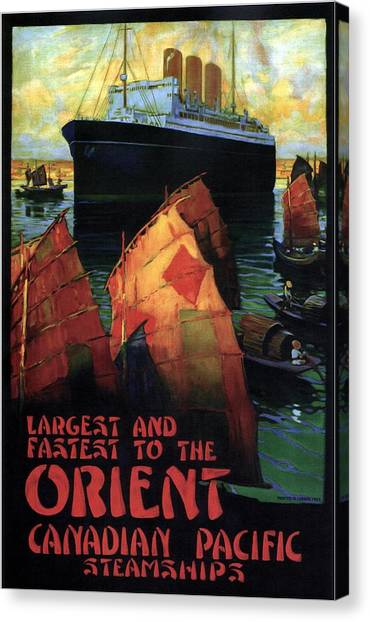 Junk Canvas Print - Largest And Fastest To The Orient - Canadian Pacific - Steamships - Retro Travel Poster - Vintage by Studio Grafiikka