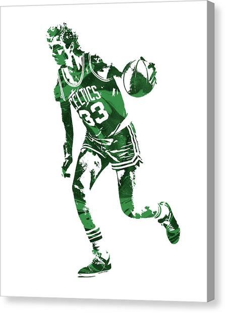 Boston Celtics Canvas Print - Larry Bird Boston Celtics Pixel Art 10 by Joe Hamilton