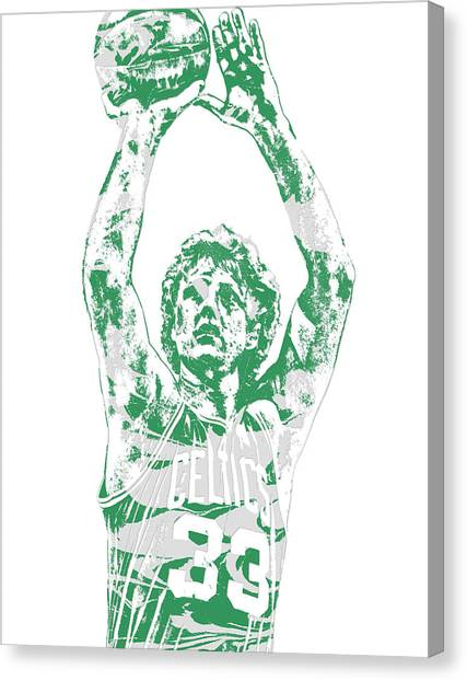 Larry Bird Canvas Print - Larry Bird Boston Celtics Pixel Art 5 by Joe Hamilton
