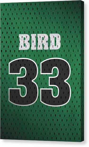 Larry Bird Canvas Print - Larry Bird Boston Celtics Retro Vintage Jersey Closeup Graphic Design by Design Turnpike