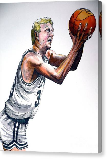 Athlete Canvas Print - Larry Bird by Dave Olsen