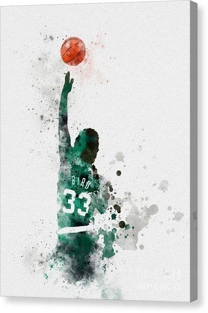 Indiana Pacers Canvas Print - Larry Bird by Rebecca Jenkins