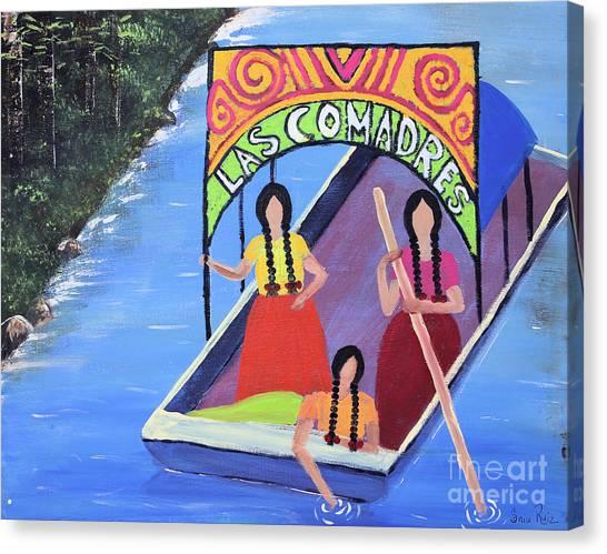 Las Comadres En Xochimilco Canvas Print